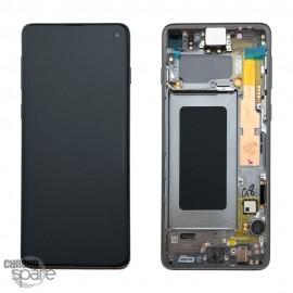 Ecran LCD + Vitre Tactile + châssis noir Samsung Galaxy S10 G973F (officiel)