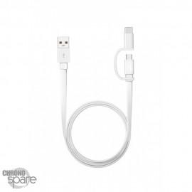 Câble Huawei original 1,5m Type C & Micro USB - Blanc