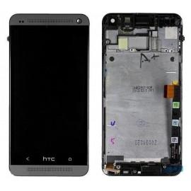 Vitre tactile + écran LCD + châssis HTC One Gris M7