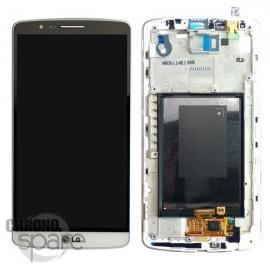 Ecran LCD + vitre tactile + châssis LG G3 D855 Blanc (Compatible AAA)
