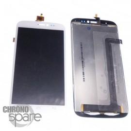Ecran LCD + vitre tactile blanche + sticker Wiko Darkside