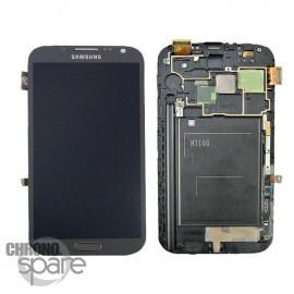 Vitre tactile et écran LCD (avec châssis) Galaxy Note 2 N7100 gris/noir (chinois)