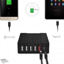 Chargeur noir 6 ports USB