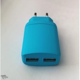 Chargeur secteur double USB 3.4A Bleu
