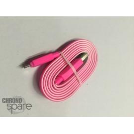 Câble plat bicolore Micro USB - Rose