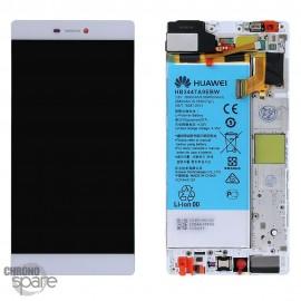 Bloc écran LCD + vitre tactile + batterie Huawei P8 Blanc (officiel)