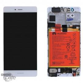 Bloc écran LCD + vitre tactile + batterie Huawei P9 Blanc (officiel)