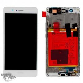 Bloc écran LCD + vitre tactile + batterie Huawei P9 Lite Blanc (officiel)